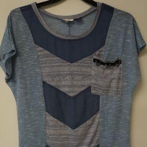Miss Me Blue Color Block Knit Top M